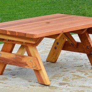 Kid's Picnic Table (Options: Table Alone, Redwood, Transparent Premium Sealant).