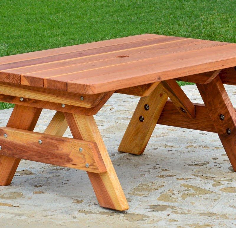 Kid's Picnic Table (Options: Table Alone, California Redwood, Transparent Premium Sealant).