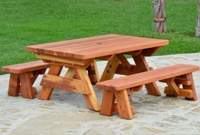 Kid's Rectangular Wood Picnic Table with Detached Benches
