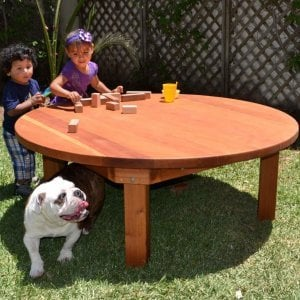 Kid's Round Patio Table (Options: 5' Diameter, No Seating, Redwood, Seamless Tabletop, Transparent Premium Sealant).