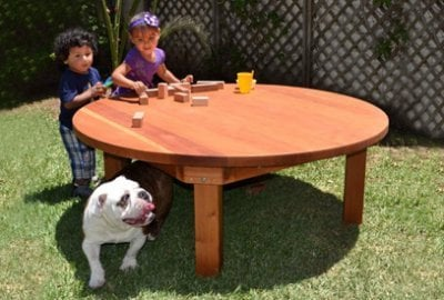 Kid's Round Outdoor Wood Table