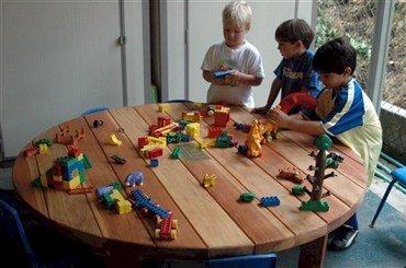 Kid's Round Patio Table (Options: 5' Diameter, No Seating, Redwood, Standard Tabletop, No Umbrella Hole, Transparent Premium Sealant).