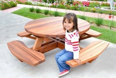 Kid's Round Wood Picnic Table Kit