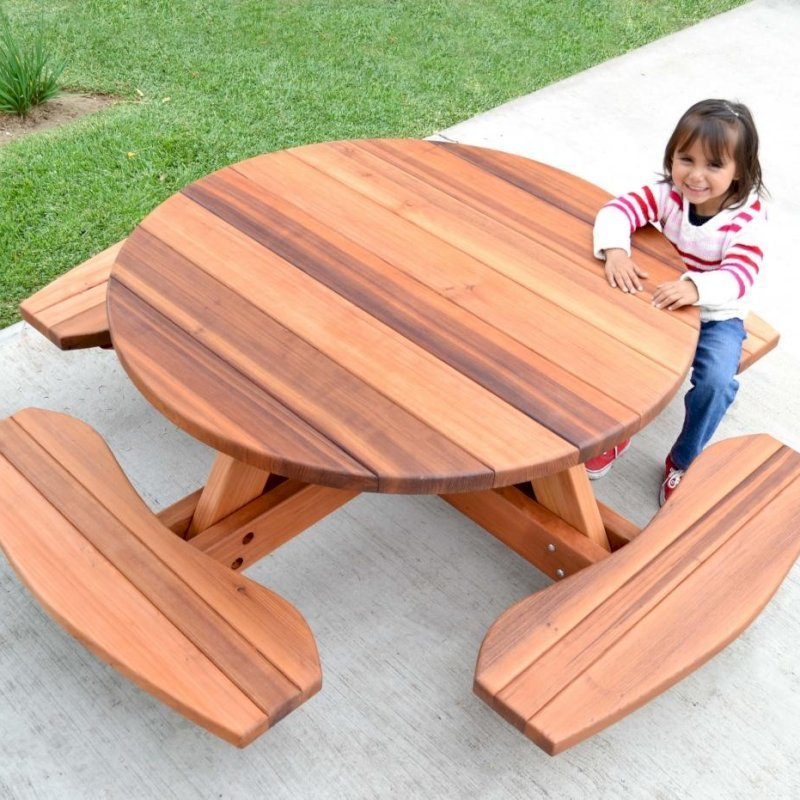 Kid's Round Picnic Table (Options: California Redwood, No Umbrella Hole, Standard Tabletop, No ADA, Transparent Premium Sealant).