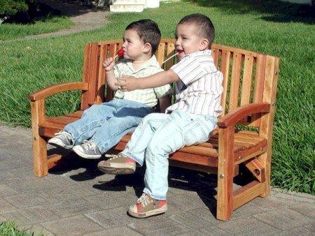 Kid's Luna Bench (Options: California Redwood, No Cushion, No Engraving, Transparent Premium Sealant).