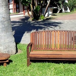 Kid's Luna Bench (Options: Old-Growth Redwood, No Cushion, No Engraving, Transparent Premium Sealant) with Kid's Side Table.