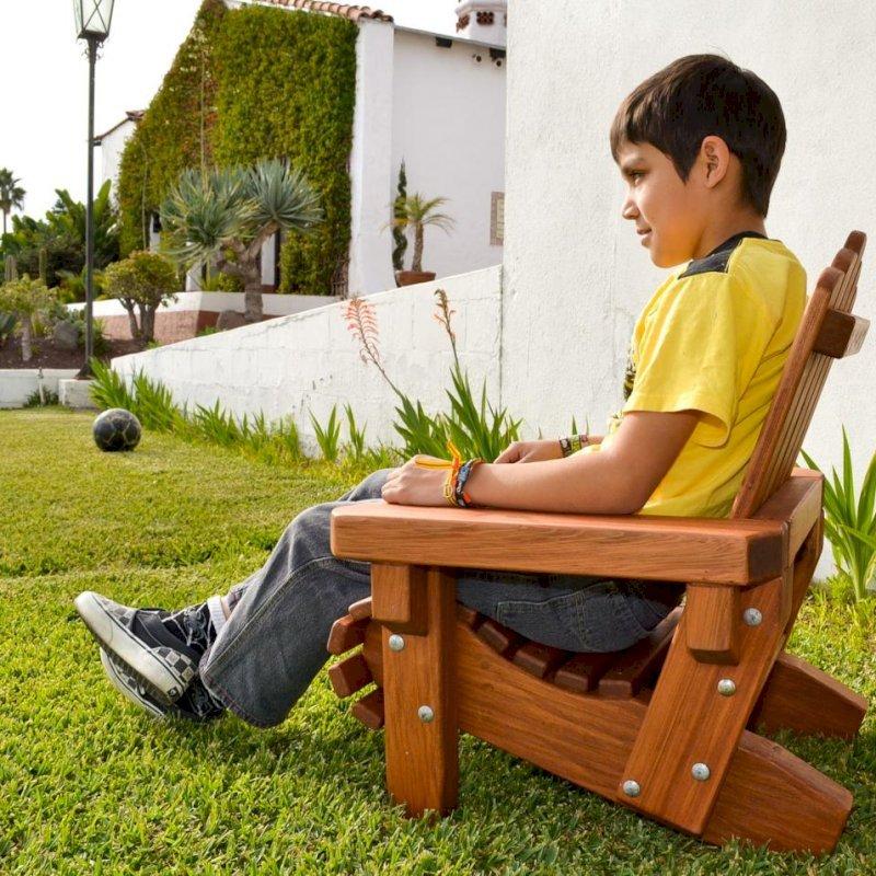 Kid's Adirondack Chair (Options: Mature Redwood, No Cushion, Transparent Premium Sealant).