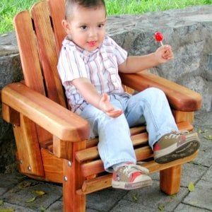 Kid's Adirondack Chair (Options: Redwood, No Cushion, Transparent Premium Sealant). Lollilop is not included!