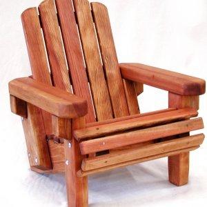 Kid's Adirondack Chair (Options: Redwood, No Cushion, Transparent Premium Sealant)