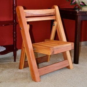 Kid's Folding Chairs (Options: Redwood, No Cushions, Transparent Premium Sealant).