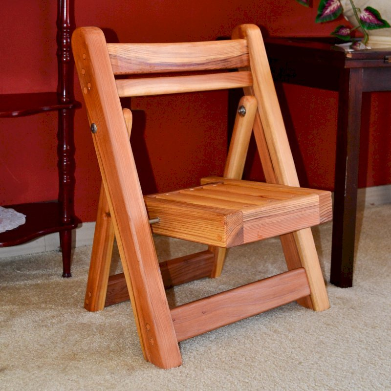 Kid's Folding Chairs (Options: California Redwood, No Cushions, Transparent Premium Sealant).