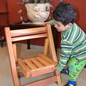 Kid's Folding Chairs (Options: California Redwood, No Cushions, Transparent Premium Sealant). Photo courtesy of Alvarez family of Ensenada, Mexico.