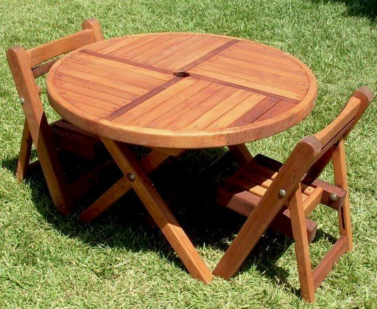 "CHAIRS CAN BE PURCHASED ALONE OR AS PART OF TABLE SET: Small Kid's 33"" Folding Table with Two Kid's Folding Chairs (Options: Mature Redwood, No Cushions, Transparent Premium Sealant)"