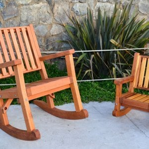 Kid's Rocking Chair (Options: Redwood, No Cushion, Transparent Premium Sealant) and Massive Rocking Chair.