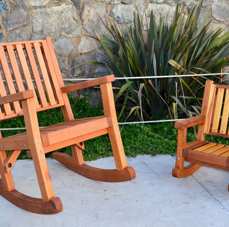 Kid's Rocking Chair (Options: California Redwood, No Cushion, Transparent Premium Sealant) and Massive Rocking Chair.