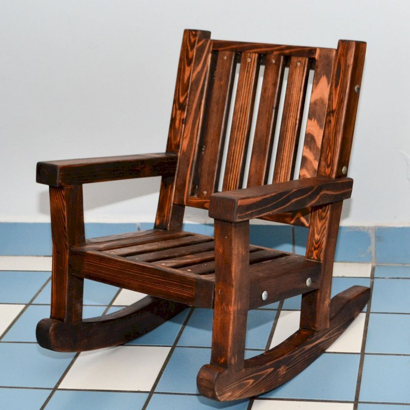 Kid's Rocking Chair (Options: Old-Growth Redwood, No Cushion, Coffee-Stain Premium Sealant).