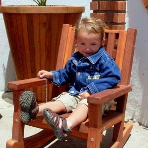 Kid's Rocking Chair (Options: Redwood, No Cushion, Transparent Premium Sealant).