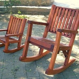 Kid's Rocking Chair Compared to Massive Rocker (dee6p seat style) -  Old-Growth Redwood with Transparent Premium Sealant