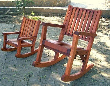 Kid's Rocking Chair Compared to Massive Rocker (dee6p seat style) - Old-Growth Redwood with Transparent Premium Sealant.