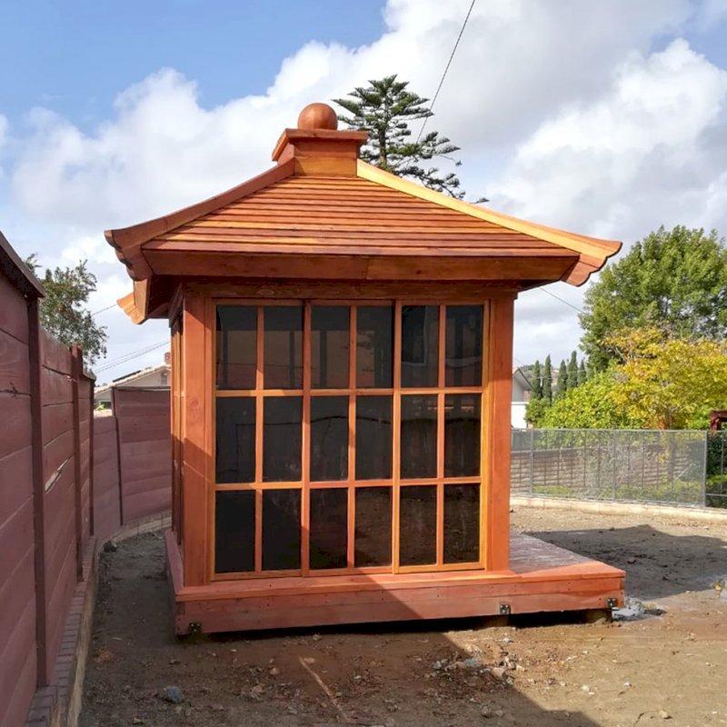 Kikue's Tea House (Options: 8 ft L x 8 ft W, Standard Wood Roof, California Redwood, No Electrical Wiring Trim, Interior Decking, Transparent Premium Sealant). Photo Courtesy of B. Jacobson of La Mesa, California.