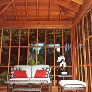 Kikue's Tea House - Interior View (Options: 12ft L x 10ft W, Redwood with Door Handle, Interior Decking with External Decking (up to 3'), Transparent Premium Sealant).