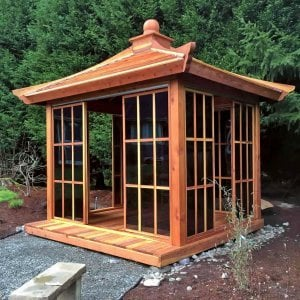 Kikue's Tea House (Options: 12ft L x 10ft W, Redwood with Door Handle, Interior Decking with External Decking (up to 3'), Transparent Premium Sealant).