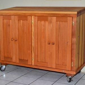 Kiyomi's Host Cart (Options: Douglas-fir, No Engraving, Transparent Premium Sealant).