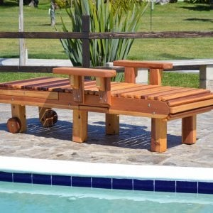 "La Grange Lounger (Options: Single, California Redwood, Snack Tray on Right Side, 13""H, Include Wooden Wheels, No Cushion, Transparent Premium Sealant)."