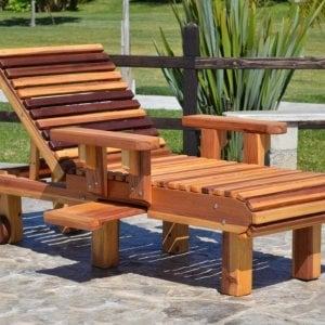 "La Grange Lounger (Options: Single, Standard 74"", California Redwood, Snack Tray on Right Side, 13""H, Include Wooden Wheels, No Cushion, Transparent Premium Sealant)."