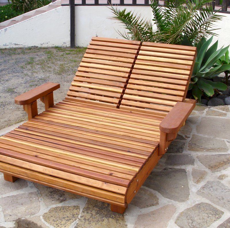 """EXTRA LONG? Here is a La Grange Double Lounger built 4 inches longer (78"""" L vs standard 74"""" L) - California Redwood, 13"""" H, No Cushions, Transparent Premium Sealant. If you need a special size, just let us know."""
