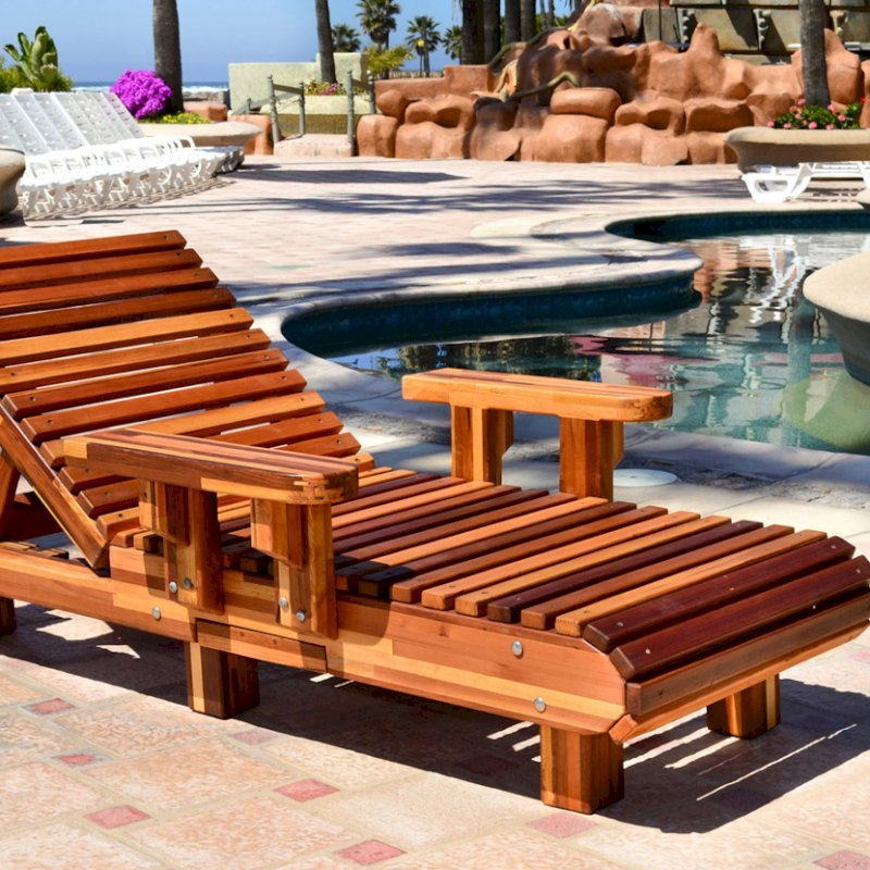 """La Grange Lounger (Options: Single, Mosaic Eco-Wood, Snack Tray on Right Side, 13""""H, Include Wooden Wheels, No Cushion, Transparent Premium Sealant)."""