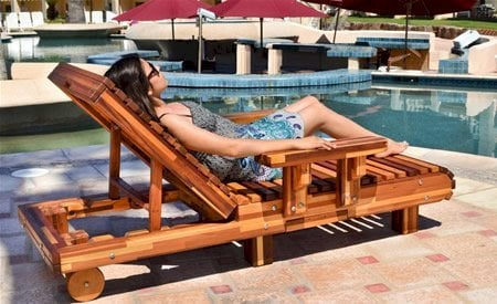 "La Grange Lounger (Options: Single, Mosaic Eco-Wood, Snack Tray on Right Side, 13""H, Include Wooden Wheels, No Cushion, Transparent Premium Sealant)."