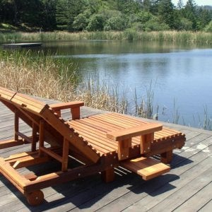 La Grange Lounger (Options: Double, Mature Redwood Snack Tray on Both Sides, 13