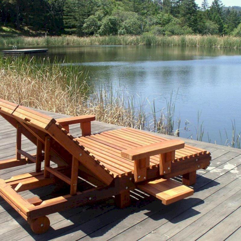 "La Grange Lounger (Options: Double, Mature Redwood Snack Tray on Both Sides, 13"" H, Wheels, Transparent Premium Sealant). Photo Courtesy of Susan and Igor B. of Napa, CA."