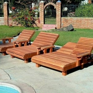 La Grange Chaise Loungers (Options: Single - left, Honeymoon - center & Double - right, Mature Redwood, Single has Snack Tray on right side, Honeymooner and Double have Snack Trays on both sides, 13