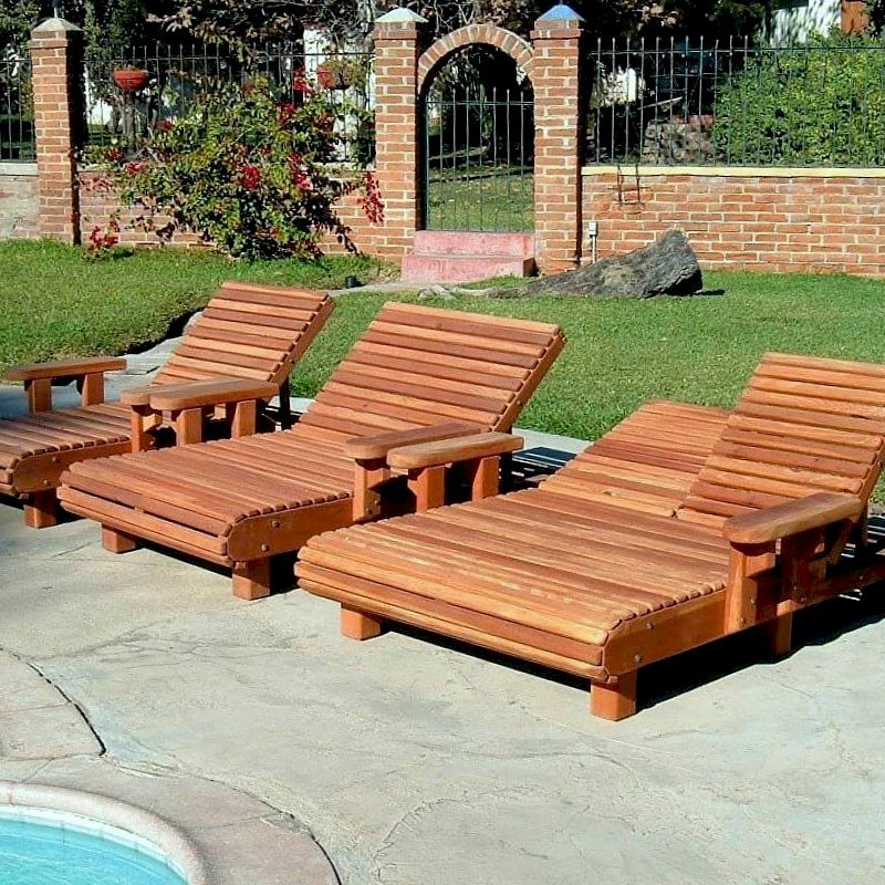 """La Grange Chaise Loungers (Options: Single - left, Honeymoon - center & Double - right, Mature Redwood, Single has Snack Tray on right side, Honeymooner and Double have Snack Trays on both sides, 13"""" H, Wheels, Transparent Premium Sealant)"""
