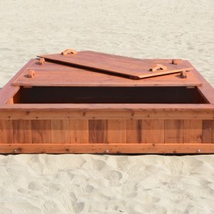 "La Playa Sandbox (Options: 96""L x 72"" W x 15"" H, Mature Redwood, Tongue and Grooved Lid, Transparent Premium Sealant)."