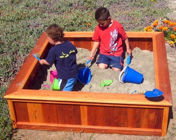 "La Playa Sandbox (Options: 60""L x 60""W x 15""H, Redwood, No Lid, Transparent Premium Sealant)"