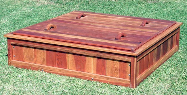 """La Playa Sandbox (Options: 60""""L x 60""""W x 15""""H, Redwood, Lid, Transparent Premium Sealant)"""