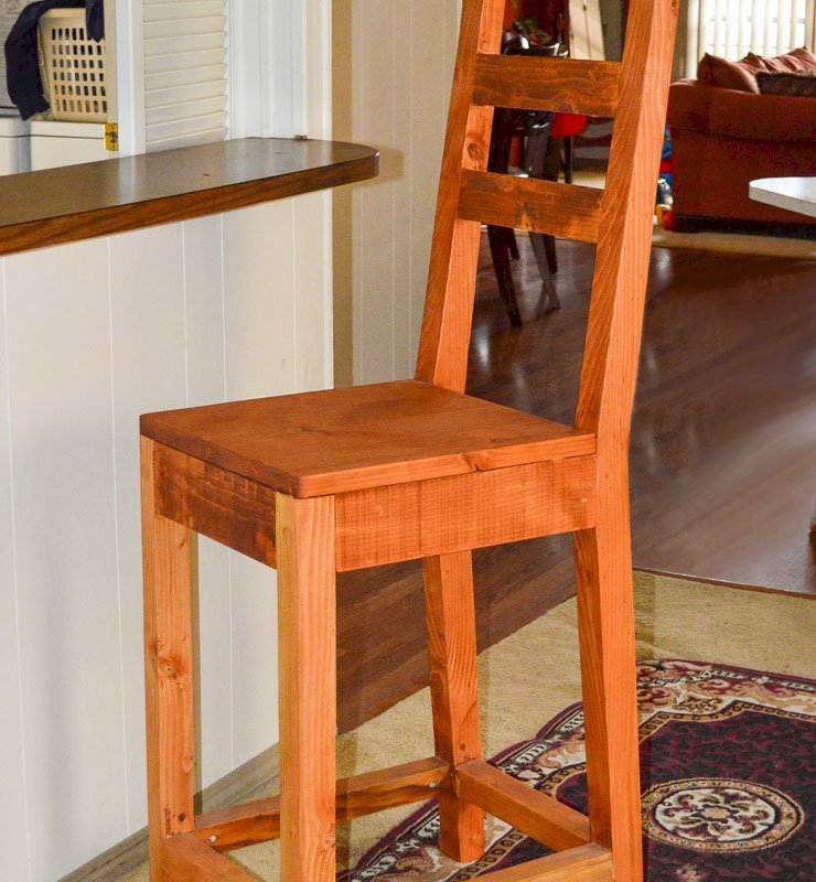 "Ladderback Stool (Options: Douglas-fir, Without Arms, 29"" H Seat, Rustic Finish, No Cushion, Transparent Premium Sealant)."