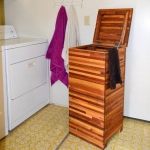 """Laundry Hamper (Options: 18""""W x 18""""D x 36""""H, Mosaic Eco-Wood, Attached Lid to Hamper, No Ventilation, No Casters, Transparent Premium Sealant)"""