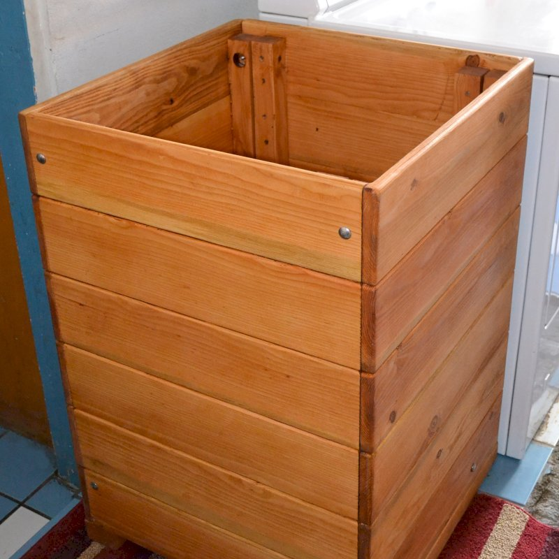 "Laundry Hamper (Options: Douglas-Fir, Unattached Lid to Hamper, No Ventilation, No Casters, Transparent Premium Sealant). Photo Shows 24""W x 24""D x 36""H size."