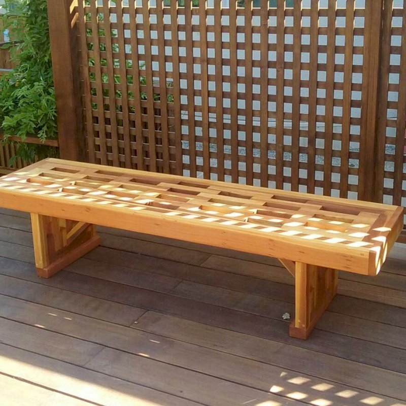 Lighthouse Garden Bench (Options: 6 ft L x 17 3/4 inches W x 17 inches H, California Redwood, No Cushion, No Engraving, Transparent Premium Sealant). Photo Courtesy of P. Chen of Atherton, CA.