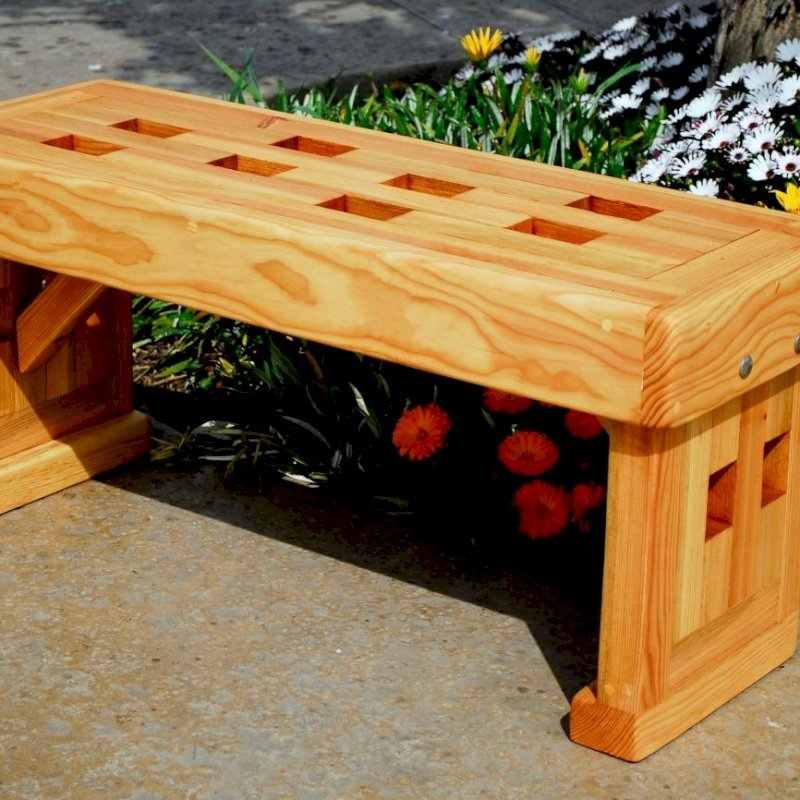 Lighthouse Garden Bench (Options: 3 ft L x 12 1/2 inches W x 15 1/2 inches H, Douglas-fir, No Cushion, No Engraving, Transparent Premium Sealant).