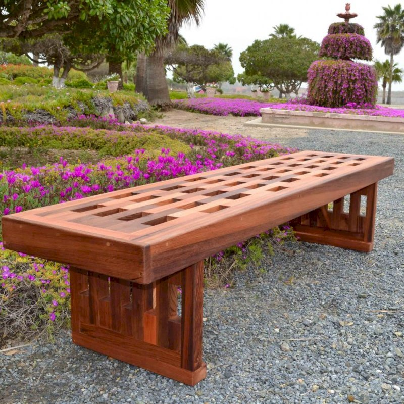 Lighthouse Garden Bench (Options: 7 ft L x 21 1/4 inches W x 18 1/2 inches H, Mature Redwood, No Cushion, No Engraving, Transparent Premium Sealant).