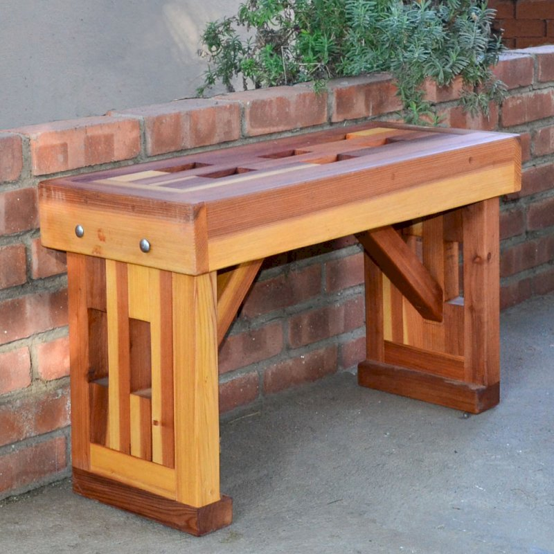 Lighthouse Garden Bench (Options: 2 1/2 ft L x 12 1/2 inches W x 18 1/2 inches H, California Redwood, No Cushion, No Engraving, Transparent Premium Sealant).