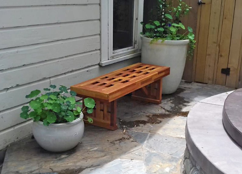 Lighthouse Garden Bench (Options: 4.5 ft L x 17 3/4 inches W x 17 inches H, Mosaic Eco-Wood, No Cushion, No Engraving, Transparent Premium Sealant). Photo Courtesy of T. D. Kenyon of Ashland, Oregon.