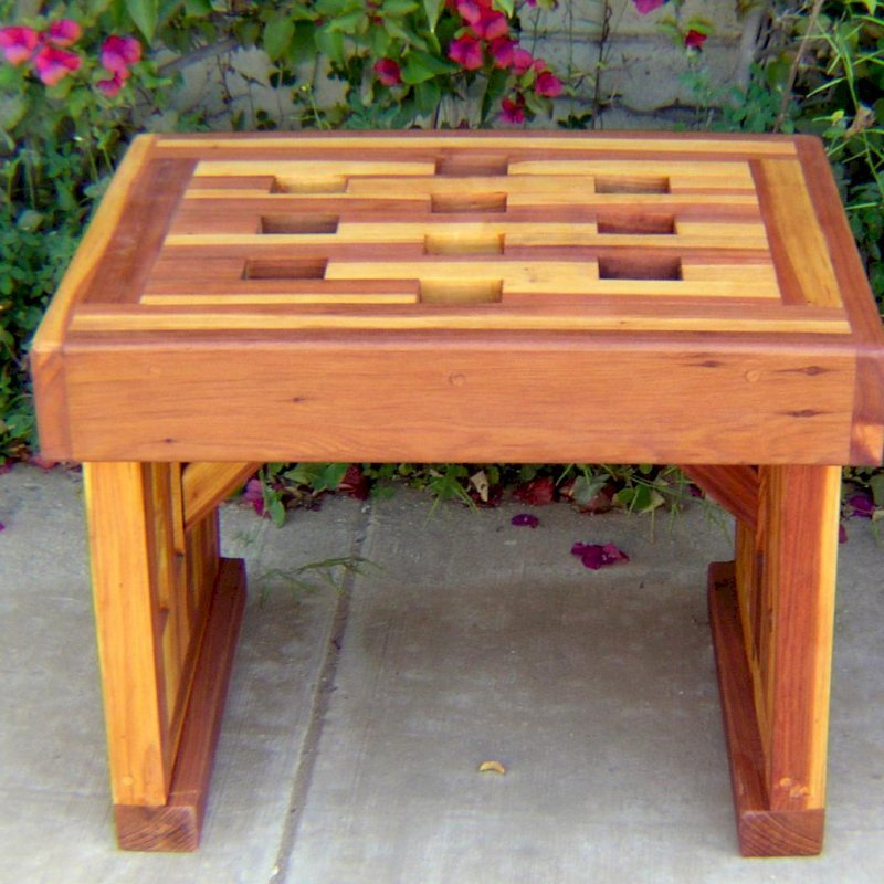 Lighthouse Garden Bench (Options: 2 ft L x 17 3/4 inches W x 17 inches H, California Redwood, No Cushion, No Engraving, Transparent Premium Sealant).