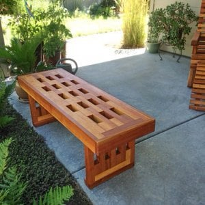 Lighthouse Garden Bench (Options: 4 1/2 ft L x 10 3/4 inches W x 12.5 inches H, Redwood, No Cushion, No Engraving, Transparent Premium Sealant). Photo courtesy of Marilyn Brooks of Star, Idaho.