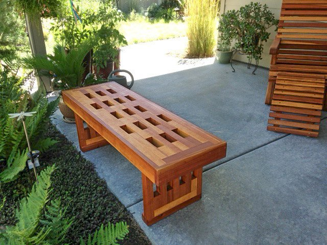 Lighthouse Garden Bench (Options: 4 1/2 ft L x 10 3/4 inches W x 12.5 inches H, California Redwood, No Cushion, No Engraving, Transparent Premium Sealant). Photo courtesy of Marilyn Brooks of Star, Idaho.